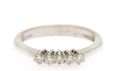 A diamond ring set with five brilliant-cut diamonds totalling app. 0.27 ct., mounted in 18k white gold. Size 56.