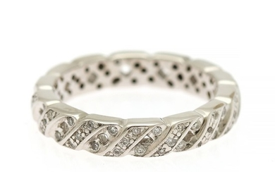 A diamond ring set with numerous brilliant-cut diamonds, mounted in 14k white gold. W. 4 mm. Size 54.