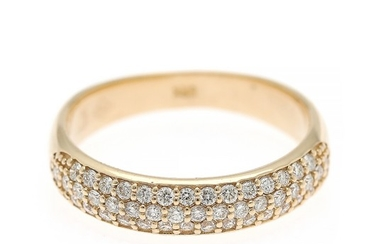A diamond ring set with numerous brilliant-cut diamonds, totalling app. 0.50 ct, mounted in 14k gold. Size 55.