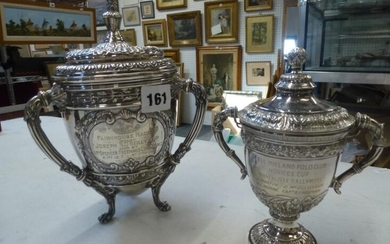 A fine Irish silver racing trophy cup with cover,...