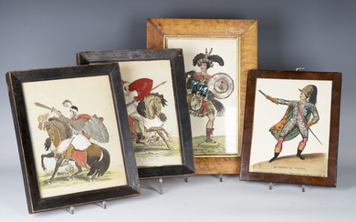 A group of four 19th century engravings of historical characters, all embellished with hand-colourin