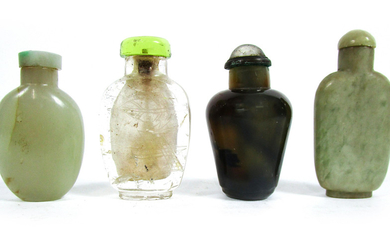 A jade snuff bottle and three other mineral bottles, all with stoppers