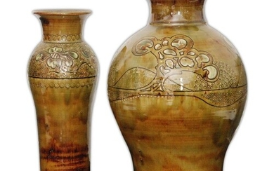 A large studio pottery vase by Leonard Stockley decorated wi...