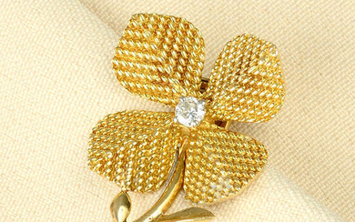 A mid 20th century 18ct gold diamond flower brooch, by Pierre Sterlé.