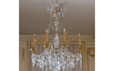 A pair of Louis XV style gilt metal and glass eight light chandelier XIXth century.