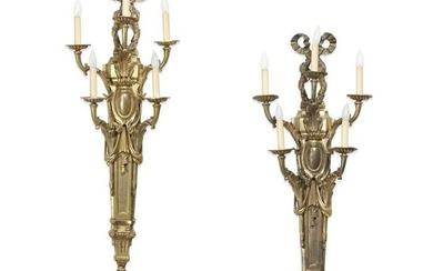 A pair of Louis XVI style bronze wall lights
