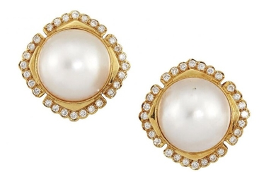 A pair of cultured pearl and diamond...