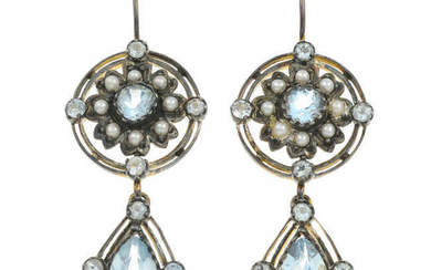 A pair of seed pearl and gem-set earrings.