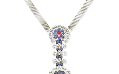 A sapphire, diamond and pink paste pendant necklace