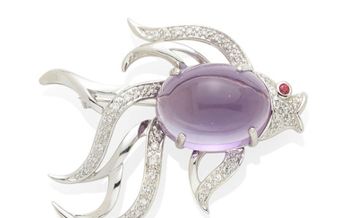 A white gold, amethyst, and diamond fish brooch
