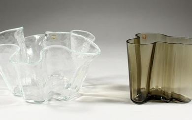 ALVAR AALTO, for Iittala, Finland, a smoky glass free