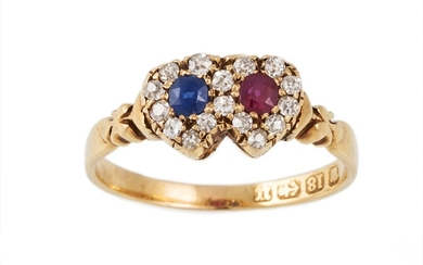 AN ANTIQUE SAPPHIRE, RUBY AND DIAMOND DOUBLE HEART RING, clu...