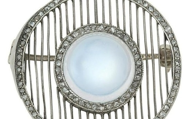 ART DECO MOONSTONE AND DIAMOND BROOCH set with a