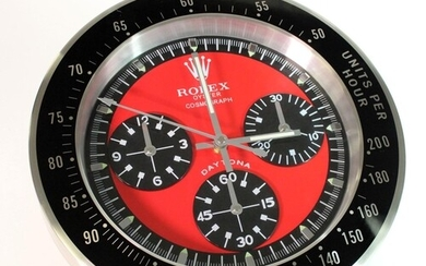 Advertising Wall Clock. Black & chrome 'Rolex' advertising ...