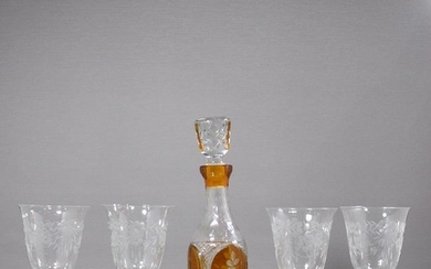 Amber Bohemian Cut Glass Decanter & 4 Etched Glasses