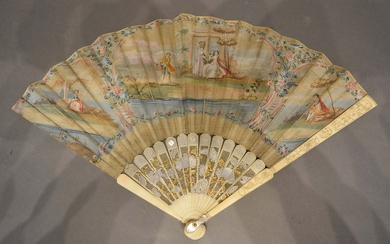 An 18th Century Fan, hand painted with classical figures wit...