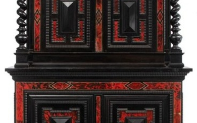 An ebonised Baroque Revival two-part buffet with tortoiseshell...