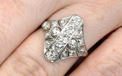An old-cut diamond openwork dress ring. Estimated total