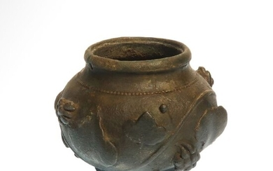 Ancient Roman Bronze Vase with High Relief Vine Leaves and Grapes