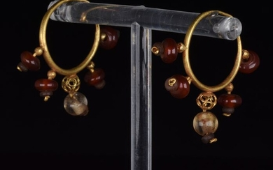 Ancient Roman Gold Earrings with Carnelian and Rock Crystal
