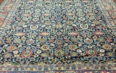 Antique Persian all over blue Tabriz Rug-3943