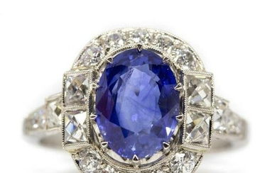 Art Deco Platinum Gia Ceylon Sapphire and Antique
