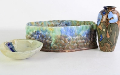 Art glass dish (Dia 15cm) together with an Anstel bud vase (H18cm) and a retro trough (W29cm)