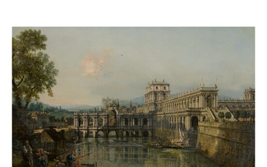 BERNARDO BELLOTTO | ARCHITECTURAL CAPRICCIO WITH A PALACE BESIDE A MOAT AND FIGURES IN THE FOREGROUND