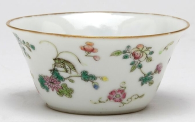 Bowl - Porcelain - A Famille Rose Enamel Floral Cricket Bowl, Daoguang Six Character Mark And Of The Period - China - Daoguang (1821-1850)