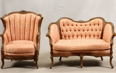 CARVED WOOD, DAMASK UPHOLSTERED, LOVESEAT & CHAIR