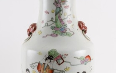 CHINESE POLYCHROME PORCELAIN VASE In baluster form, with lion's-head mock ring handles at shoulders and heavenly maiden decoration o..