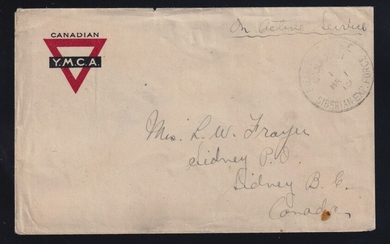 Canada 1919 Siberian Expeditionary Force Active Service Cover, YMCA stationery cover, postmarke...