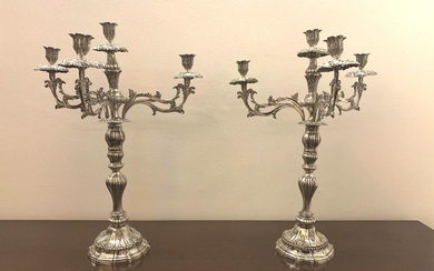 Candelabrum (2) - Silver - Victor Acto Diniz - Lisboa - Portugal - Early 19th century