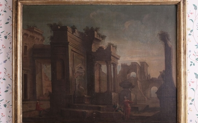 Cerchia di Viviano Codazzi, XVII secolo Landscape with roman ruins and figures