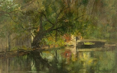 Charles Gruppe (American, 1860 - 1940) Canal in Summer