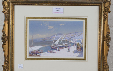 Charles Rowbotham - 'Spezia', watercolour and gouache, signed recto, inscribed verso, 12cm