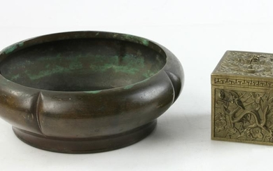 Chinese Bronze Censer and Inkwell