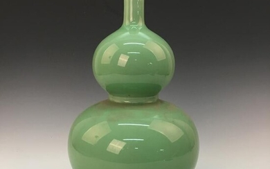 Chinese Green Glazed Double-Goured Bottle Vase, Kangxi