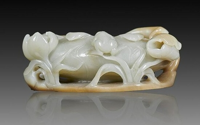 Chinese Qing Style Pale Celadon Jade 'Lotus' Brush Wash