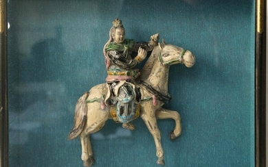 Antique Chinese Terra Cota horse rider in shadow box
