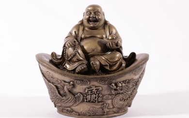 Chinese brone figure of Happy Buddha, holding ingot and rosary beads (H19cm W20cm D13cm)