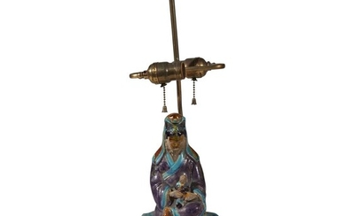Chinese figure mounted as a lamp Ming dynasty Fahua...