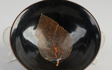 Chinese porcelain bowl with black glaze and leaf motif
