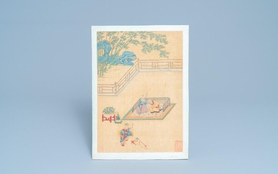 Chinese school, ink and colour on silk, 18/19th C.: 'A jester in front of an elderly couple in a daybed'