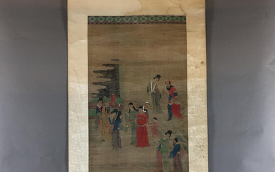 Chinese ROLL SCREEN - Court party with audience scene, ink and light colors on silk fabric.