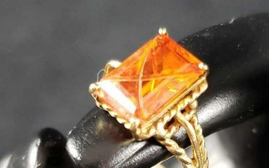Citrine Like Emerald Cut Ring with 10k Gold Band