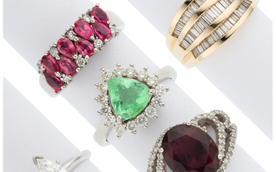 Diamond, Multi-Stone, Gold Rings The lot includes five rings:...