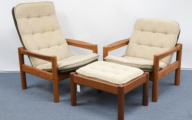 Domino Mobler Danish Modern Chairs with ottoman