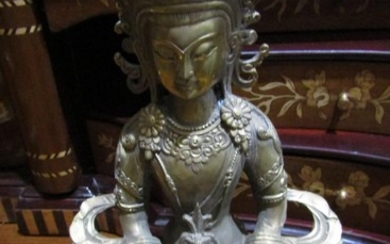 Eastern Bronze Figure of Deity in Seated Position above Deco...