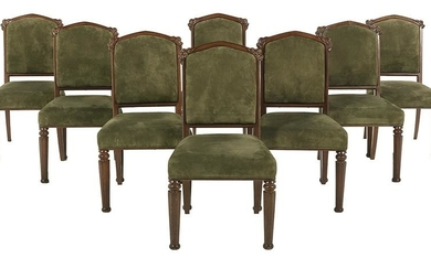 Eight English Gothic Revival-Style Dining Chairs